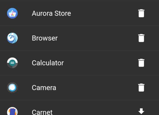 Preinstalled apps menu